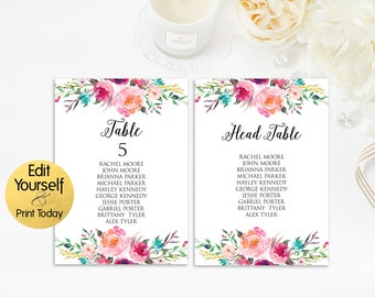 Table Numbers Template, Reception Table Numbers, Editable Table Numbers, Editable Head Table, Numbers Template, PDF Table Numbers, 4x6, 5x7
