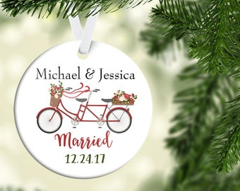 Just Married Ornament|Wedding Ornament| Newlywed Ornament| Custom Christmas Ornament| Newlywed Gift| Bicycle Ornament| Couples gift| CO29