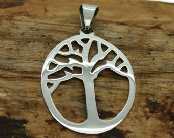 Sterling Silver Oval Tree of Life Pendant (M15)