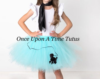 Aqua Black Poodle Skirt Tutu - All Sizes Baby Newborn 3 6 9 12 Months Child Girls 3 4 5 6 8 10 12 Adult - 50's Sock Hop Halloween Costume