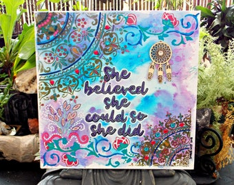 Mixed Media Painting - Canvas Board - Positive Affirmation - Acrylic - Pen - Ink - Believe - Wall Art - Ready to Frame - Urban Goddess3