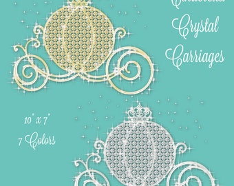 Fairytale Cinderella Diamond & Crystal Princess Carriage   7 Colors   Clipart Digital PNG Instant Download