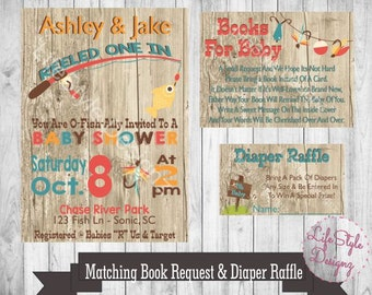 Fishing Baby Shower Invitation - They Reeled One In - Little Boy Baby Shower-Fisherman Baby Shower - Fish - Rustic Baby Shower - Fishing Rod