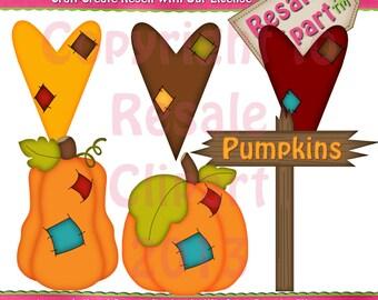 Fall Patchwork Pumpkins Clipart (Digital Download)