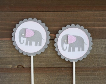 Elephant Cupcake Toppers, Baby Girl Elephant, Baby Shower Cupcake Toppers