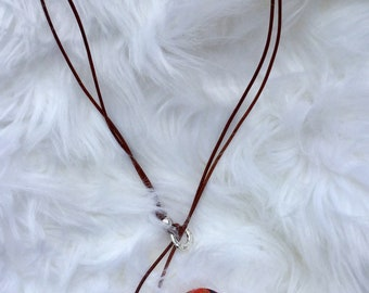 Brown leather necklace with dangle beads and silver tone hardware