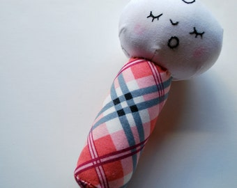 Baby on a Stick - Baby Rattle in Pink Plaid - Washable - Teether - Soft Toy - Baby Gift - Original - Stocking Stuffer - Girls