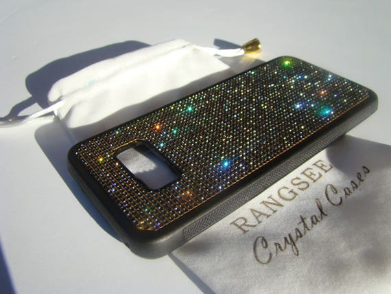 "Galaxy s8+  Black Diamond Rhinestone Crystal ""Gold Edition"" on Black Rubber Velvet/Silk Pouch Bag Included, Genuine Rangsee Crystal Cases."