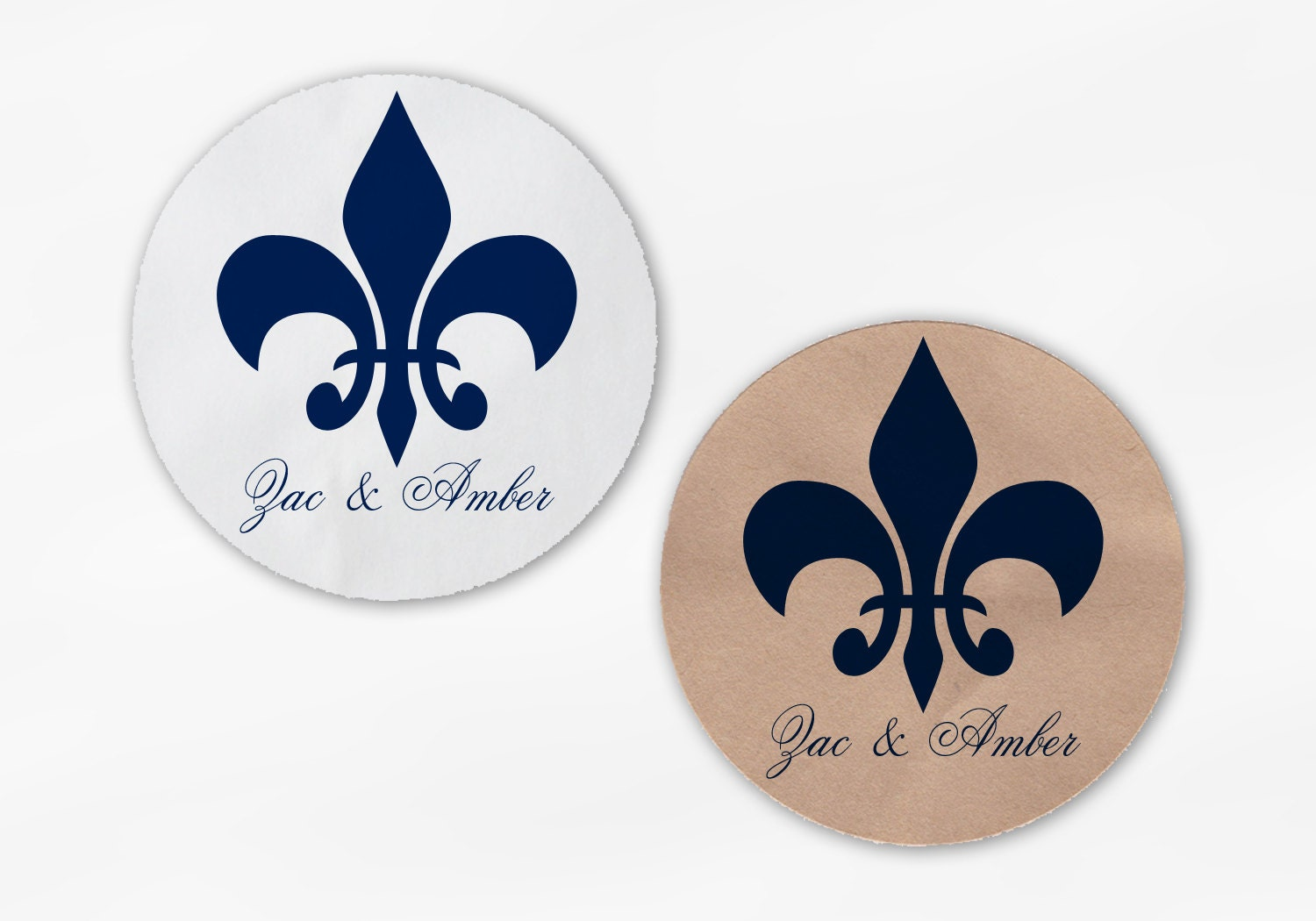 Fleur de Lis Wedding Favor Stickers - Navy Blue Custom Candy Buffet ...