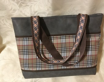 Brown faux leather fabric Plaid tote bag
