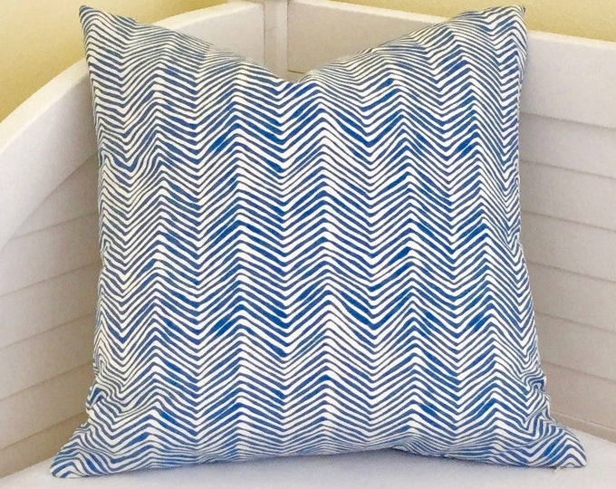 Quadrille China Seas PETITE Zig Zag in Pacific (Denim) Blue Designer Pillow Cover  - Square, Lumbar and Euro Sizes