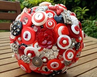 Wedding Button Bouquet in red, black and white - medium size - wedding flowers, retro/vintage design, rockabilly, UK seller
