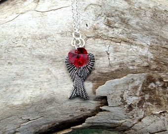 My Heart on Wings - Pendant with a Swarovski Crystal Heart