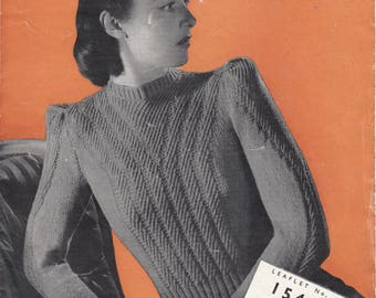 1940s LADY'S JUMPER SWEATER, vintage knitting Pattern, 3 ply, 34 inch, Copley's no 1546, pdf instant download