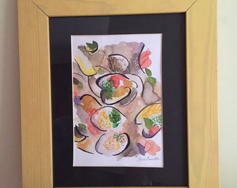 Original watercolour and ink painting -Clam Stew in bright yellow frame