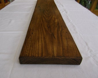 Rustic shelf handmade from reclaimed timber and finished in briwax dark oak wax polish 1000 x 225 x 35mm
