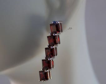 5 Stone Bali Sterling and Garnet Dangle Earrings