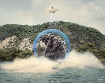 "10""x8"" Print of MyKaiju Toy Photography Godzilla Arises 1965"