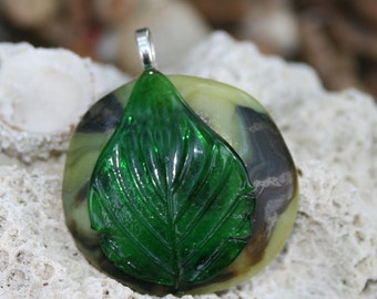 Awesome LEAF Fused Glass Pendant -- Art Glass By YM