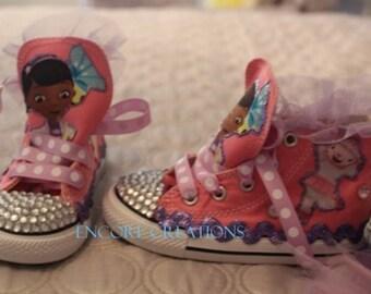 "Customized ""Doc McStuffins"" Converse Shoes/ Customized Chuck Taylors"