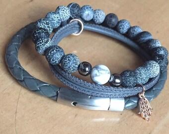 Leather bracelet Stainless Steel closure