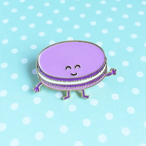 Macaron Purple Enamel Pin - dessert french pastry food lapel