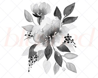 Watercolor Peony Art - Printable Watercolor Art - Gallery Wall Printable - Black and White Printable Art - Watercolor Home Decor - 8x10