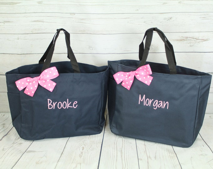 6 Personalized Bridesmaid Gift Tote Bags, Bridesmaid Gift, Personalized Bridesmaid Tote, Wedding Party Gift, Name Tote, Bridal Party Gift