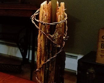 1800s Cedar Fence Post Lamp with Barbed Wire