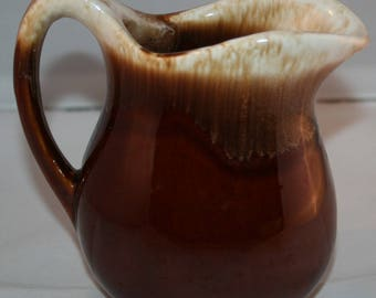 McCoy Brown Drip Glaze Pottery Cream Pitcher USA Oven Proof Vintage