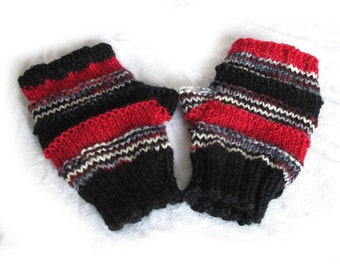 Hand Knit Fingerless Gloves, IN STOCk, Funky Fingerless Gloves, Black and Red Fingerless Gloves, Fingerless Mitts, Wool Gloves