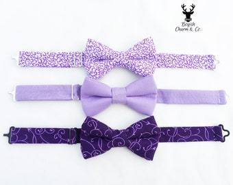 Boys Purple Bow Tie, Mens Purple Bow Tie, Boys Lavender Bow Tie, Ring Bearer Outfit, Boys Lilac Bow Tie, Mens Lavender Bow Tie, Boys Bowtie