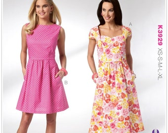 SUMMER DRESS Sewing Pattern Vtg Style Dresses Plus Size 5 Sizes Kwik Sew 3929