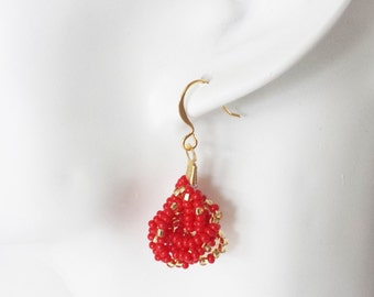 Christmas gifts, gift for women, red earrings, red and gold, dangling earrings, french knot, small dangling earrings, seed bead earrings