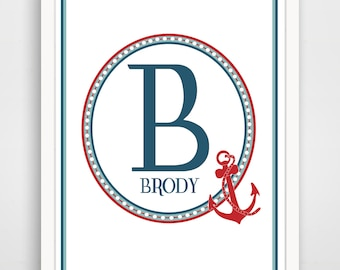Personalized Children's Wall Art / Nursery Custom Nautical Monogram Letter Initial  and Name print by Finny and Zook