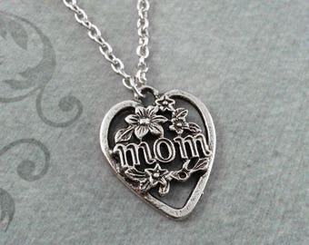 Mom Necklace SMALL Floral Heart Charm Pendant Necklace Mother's Day Jewelry Mother's Day Gift for Mom Mother Necklace Mother of the Bride
