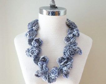 Rose Onie Infinity scarf, Floral Rose Vines Scarf, Grey Rose scarf, Small accent scarf in grey with roses, perfect any season, Rose scarf