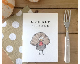 Gobble Gobble Card // turkey card, thanksgiving card, holiday card, cute card, funny card, greeting card, thank you card, thankful, holiday