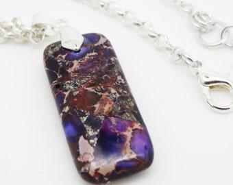 Purple Pendant, Purple Necklace,  Gemstone Pendant, Purple Gemstone Pendant, Gemstone Necklace, Sea Jasper Pendant, Purple Gemstone