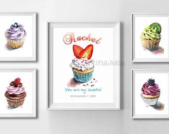 Girl wall art, nursery print, custom name art print, personalized art print, watercolor painting