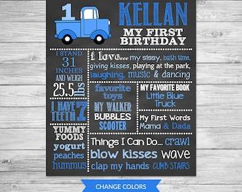 Little Blue Truck Birthday Chalkboard Poster Printable - Truck Birthday Chalkboard - First Birthday Chalkboard Digital File