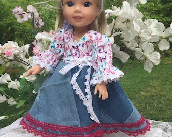 """Wellie wisher doll clothes, 14"""" doll dress, hearts for hearts dress, blue denim wrap cowboy dress with optional accessories"""