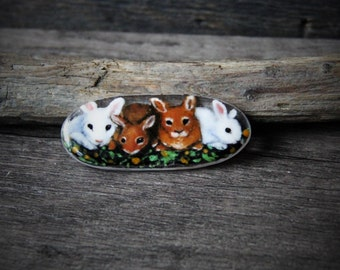 Bunny  - fused glass brooch - glass cabochon