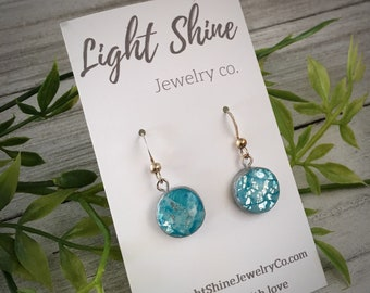 Hand Sculpted and Painted Clay and Resin Blue and Silver Circular Drop Earrings