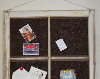 "Message Corkboard in Vintage Wooden Window (no glass) - Naturally-aged Patina - 30""x30"" - Ready to Hang - Local Pickup"