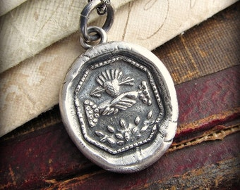 Love and Friendship Wax Seal Pendant Necklace - United in Love, Friendship and Marriage - recycled fine silver - E2165