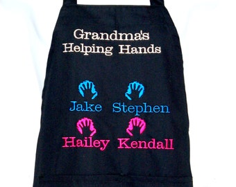 Grandma's Helping Hands Apron, Embroider, Personalize With Four Names, For Nana, Mimi Ma, No Shipping Charge, Ready To Ship TODAY, AGFT 285