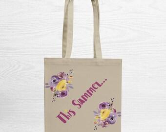 Summer – Tote Bag – Shopping Tote Bag – Canvas Tote Bag – Cotton Bag – Quote Bag – Reusable Bag