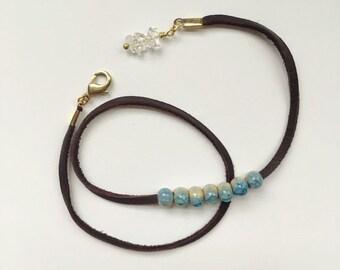 Phoebe Wrap — glazed blue ceramic, crackled anthropologie style, suede cord leather choker or bracelet boho nashville rochester bride quartz