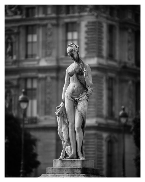Paris Wall Art, Diana The Huntress, Black and White, Fine Art Print, Jardin des Tuileries, Paris photography, French Home Decor, 5x7, 8x10